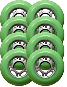 8 ASPHALT HOCKEY FORMULA Inline Skate Wheels 76mm 88a GREEN Outdoor Grip by Pro Stock