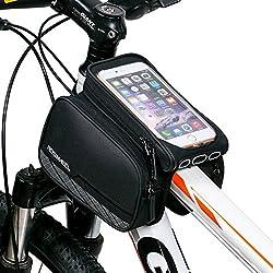 ArcEnCiel JAPAN自転車フレームバッグ 5.5インチまでスマートフォン操作可能タッチパネルポーチ付き自転車トップチューブバッグ iPhone6S 6plus 5S等対応