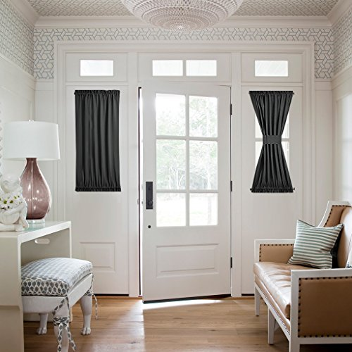 Nicetown Thermal Insulated Blackout Half Window French Door Curtains - 1 Panel 25W by 40L Inches - Black (Door 35 compare prices)