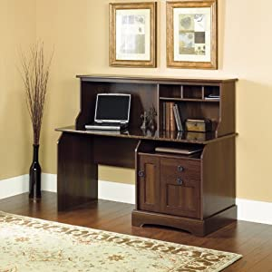 Graham Ridge Computer Desk with Sunset Granite Top and Hutch Euro Oak Finish w/Sunset Granite Top