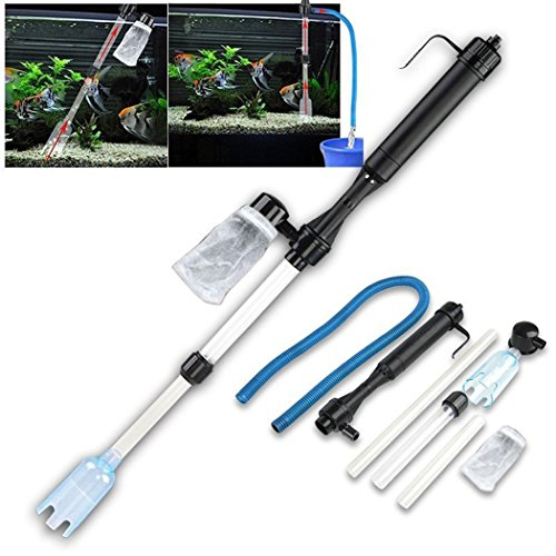 Gracelove Battery-Powered Gravel Cleaner Aquarium Fish Tank Siphon Vacuum Water Change (Black) (Battery Powered Aquarium Filter compare prices)