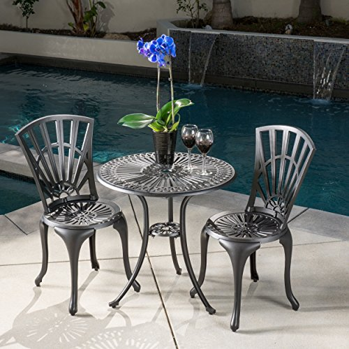 3-Piece Modern Black Outdoor Patio Bistro Set Includes