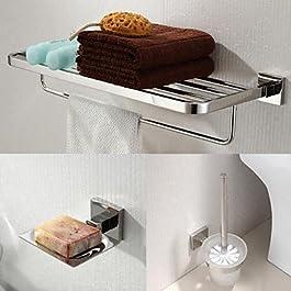 YM HOME In acciaio inox 304 accessori 3 pezzi da bagno set portasciugamani e porta scopino e portasapone