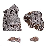 Hashcart Hand-Carved Design Printing Blocks | Making Pottery Crafts Textile Printing (Set of 4) - Christmas Décor (Color: # 1117, Tamaño: Set of 4)