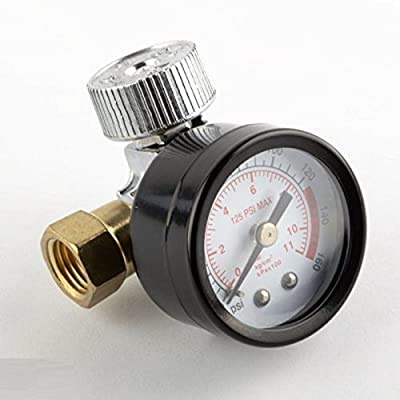 "1/4"" In Line Air Regulator w/ Pressure Gauge HVLP Paint Gun Tool Control Brass"
