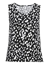 Ulla Popken Plus Size Matte Jersey Tank Top - Black Dot, 24/26