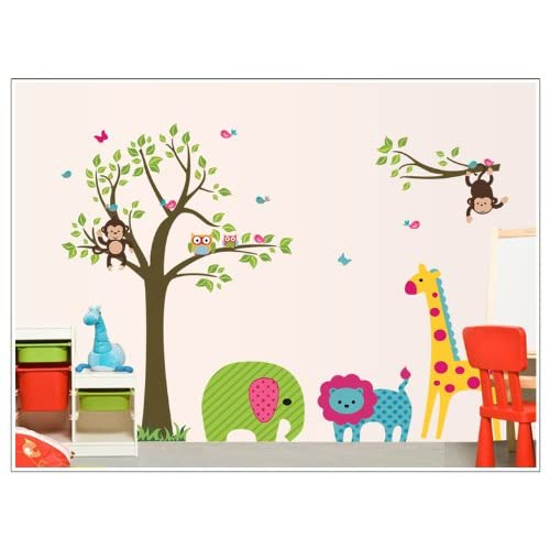 UfingoDecor Large Colorful Tree and Cartoon Animal Wall Decals Lovely Elephant Lion Giraffe Monkeys Childrens Room Nursery Removable Wall Stickers Murals