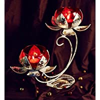 Orlando's Decor Candles Double Lotus Candle Holder With Red Jar