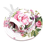 WINOMO Round Brim Pet Cap Visor Hat Pet Dog Mesh Porous Sun Cap with Ear Holes for Small Dogs - Size M (Floral Print)
