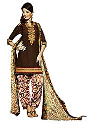 Go Traditional Women's Cotton Unstitched Dress Material (Brown)