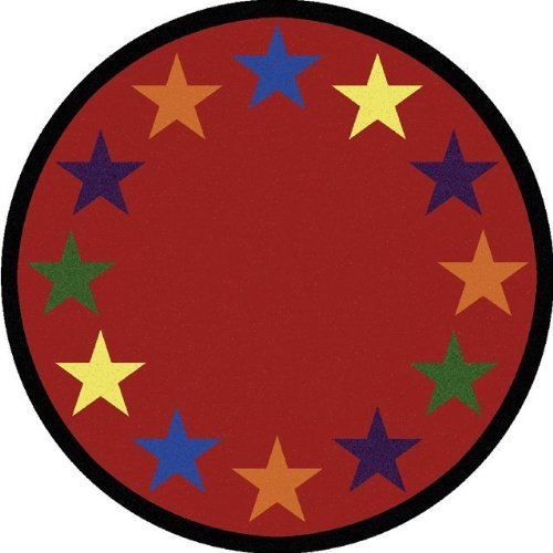 Joy Carpets Kid Essentials Early Childhood Border Round Star Space Rug, Multicolored, 7'7""