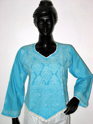 Christmas Sale Blue Tunic Yoga Cotton Kurti Clothing of India Casual Summer Spring Dresses Chikan Embroidery Size M