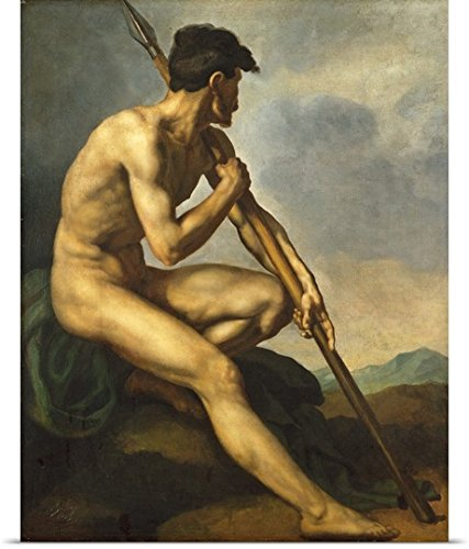 Theodore Gericault Poster Print entitled Nude Warrior with a Spear, c.1816