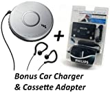 Sony DEJ011 Portable Skip-Free CD Player Walkman with Clip Style Earbud Headphones, LCD Display, Digital Mega Bass Sound, Automatic Volume Limiter System & CD-R/RW Playback - Silver - with ** BONUS ** Philips Car Charger & Tape Cassette Adapter