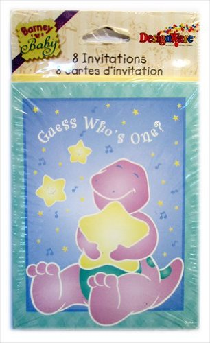 Barney 1st Birthday Invitations w/ Envelopes (8ct) - 1