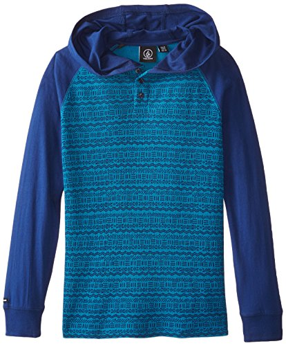 Volcom Big Boys' Mixed Hooded Thermal Shirt, Matured Blue, Medium