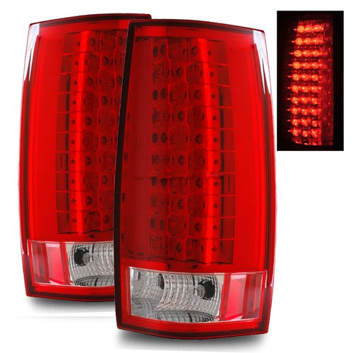 07 11 chevy tahoe red clear led tail lights escalade style. Black Bedroom Furniture Sets. Home Design Ideas
