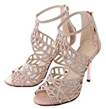 Littleboutique Crystal Studs High Heel Sandals Leather Peep Toe Strappy Sandals Party Heeled Pumps Evening Dress Shoe nude 8