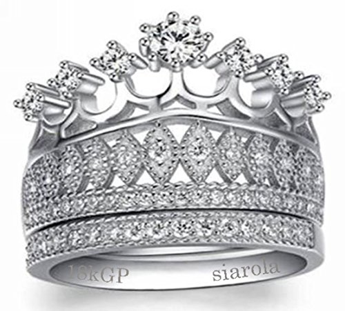 Stunning Princess Crown & Heart Round Cubic Zirconia Ring. Comes with a Free Box R62 (brass-plated-gold, 7)
