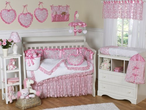 JoJo Designs 9-Piece Baby Crib Bedding Set - Pink Princess Satin and Lace