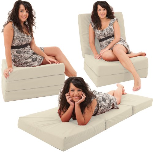 Gilda ® Adult Chair Bed / Day Bed - NATURAL Hardwearing  &  Washable 100% Cotton