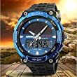 Men's Solar Powered Multifunctional Dual Time Zones Rubber Band Sporty Wrist Watch ( Color : Blue )