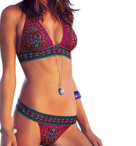 GILOLA Donne Dolce Vendemmia Stampa Puntello D'Acciaio Bikini Costume Da Bagno L Rosso