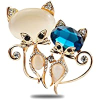 Silver Shoppee Flirting Eyez 21K Yellow Gold Plated Crystal, Cubic Zirconia And Opal Studded Alloy Brooch For Women