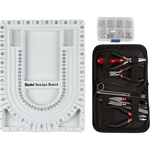 Jewelry Making Starter Kit Includes Jewelry Tool Kit, Complete Bead Board, Case of Silver Jewelry Findings - All You Need To Make Beautiful Jewelry Now! (Jewelry Making Case compare prices)