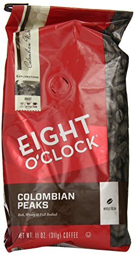 Eight O'Clock Coffee, Colombian Peaks Whole Bean, 11-Ounce Bags (Pack of 4)