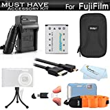 Must Have Accessory Kit For Fuji Fujifilm FinePix XP60, XP70, XP80, XP90 Waterproof Digital Camera Includes Extended Replacement NP-45A, NP-45s Battery + Ac/Dc Charger + Micro HDMI Cable + Case + More