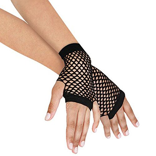 Woman Fishnet Gloves Fingerless Gothic Punk Rock Costume Fancy Dress Accessories 1 Pair Black Short Gloves For Womens (Fancy Dress Boxing Gloves)