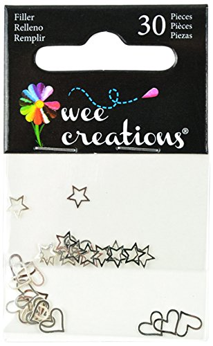 Wee Creations Confetti Filler Hearts and Stars, Silver