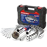 """Workpro 32-piece Socket and Wrench Set, 3/8"""" Patented Dual Drive Ratcheting Handle"""