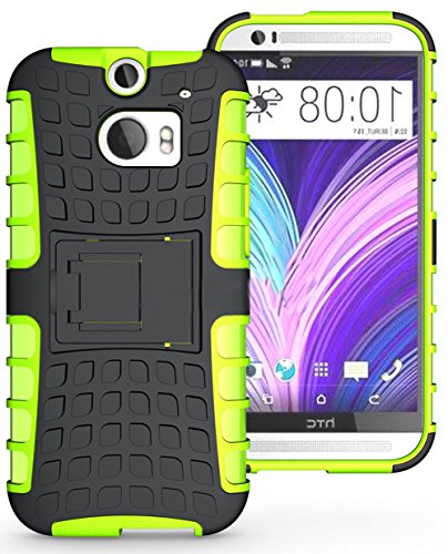 Mylife Charcoal Black + Lime Green {Rugged Design} Two Piece Neo Hybrid (Shockproof Kickstand) Case For The All-New Htc One M8 Android Smartphone - Aka, 2Nd Gen Htc One (External Hard Fit Armor With Built In Kick Stand + Internal Soft Silicone Rubberized