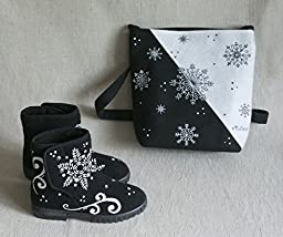 Handmade Set Bag Boots Felt Wool Snowflakes Woman Accessory Unique
