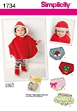 Simplicity Pattern 1734A Extra Small Large Babies Poncho and Accessories