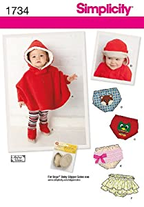 Simplicity Creative Patterns 1734 Babies' Poncho and Accessories, A (X-Small-Small-Medium-Large)