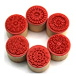 Decora 6pcs Floral Pattern Round Wood...