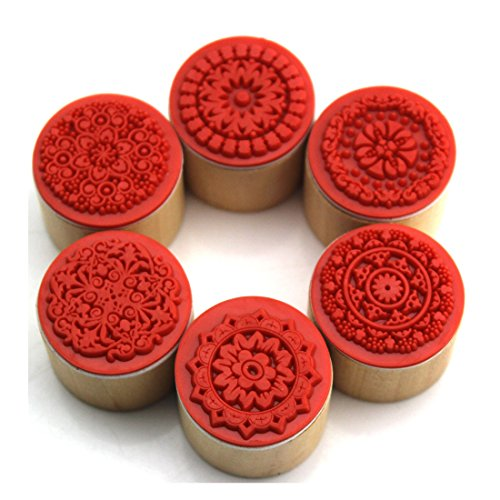 Decora 6pcs Floral Pattern Round Wooden Rubber Stamp