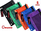 Omura Zippered PENCIL POUCH BOLD COLOR w/ Mesh Windows & Standard 3-Ring Binder, Pack 5