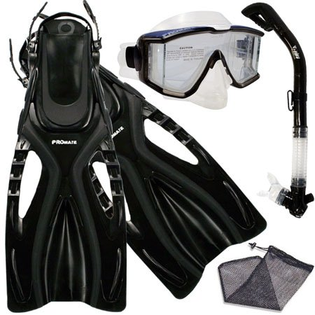 PROMATE Snorkeling Scuba Dive SIDE-VIEWED PURGE Mask Fins Dry Snorkel Gear Set, Bk, MLXL