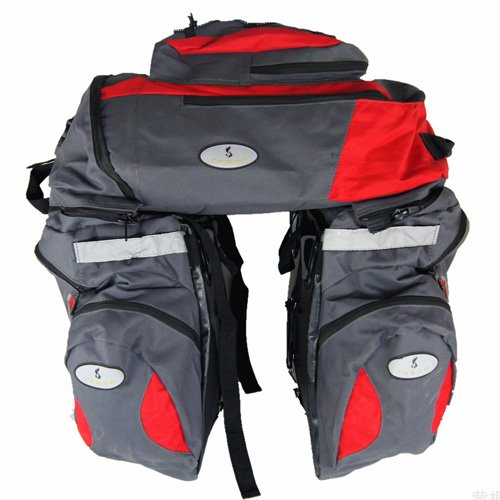 65L Waterproof Triple Cycling Bicycle Rear Seat Bag Bike Panniers Saddlebag