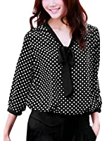 Allegra K Women Bow Neck Polka Dotted Blouses Dressy Tops
