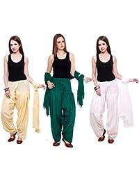 Pistaa Combo Of Cotton Cream, Dark Green And White Patiala Salwar Dupatta Set
