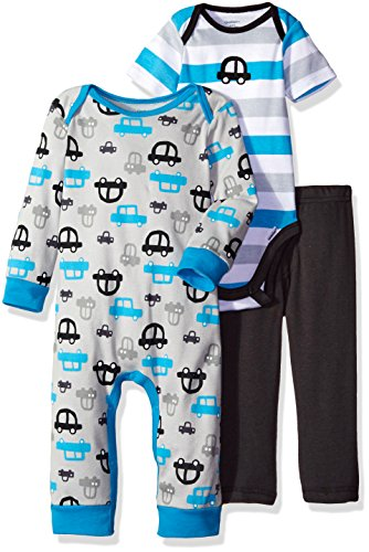 Gerber Boys' 3 Piece Coverall, Bodysuit, and Pant Set, Car, 3-6 Months