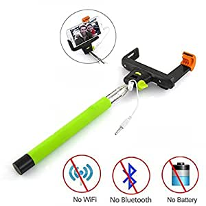 Ischulke® New 3.5mm USB Cable Connection Extendable Selfie Handheld Stick Monopod [No Battery + No Bluetooth + No App + No Wifi] with Shutter Remote Control Shaft for Iphone 6 6 Plus 5s 5c 5 4s 4,samsung Galaxy S3 S4 S5, Samsung Galaxy Note 2 Note 3 Note 4, Htc, Blackberry, Sony, Lg, Compatble with IOS 5.0/ Android 4.2 or Above System (Green)