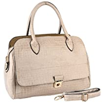 Hot Sale MG Collection ALECIA Beige Crocodile Textured Turn-lock Doctor Style Tote Purse