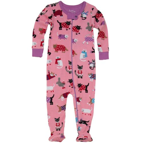 Hatley Baby Girls Infant Footed Coverall Sweater Cats, Pink, 18-24 Months front-1025192