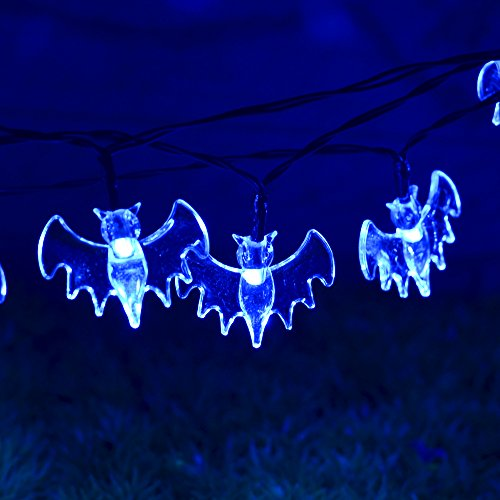 Halloween Decoration String Lights,Souldio™ Solar Led Power String Lights 6.6ft 20 LED Bat Lights,Fairy String Lights/Starry Lights for Outdoor,Home,Patio,Garden,Thanksgiving,Christmas(Blue Bat)